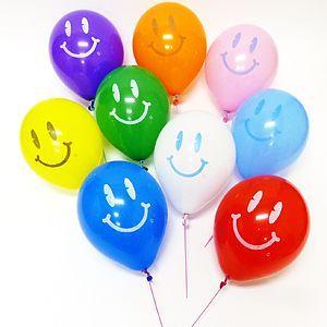 天然ゴム風船 スマイル柄(300ヶ) 21cm棒付 / バルーン|e-balloon