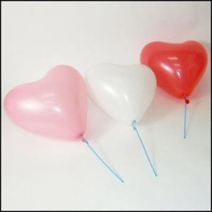 天然ゴム風船 ブライダル用4色(赤・白・ピンク・ローズピンク)ハート型風船(100ヶ) 21cm棒付【バルーン】|e-balloon