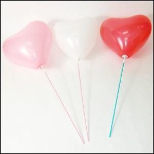 天然ゴム風船 ブライダル用4色(赤・白・ピンク・ローズピンク)ハート型風船(100ヶ) 40cmパイプ棒付【バルーン】|e-balloon