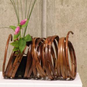 燻煙千島笹 鳳尾竹 オブジェ 置き花籠 |e-basket