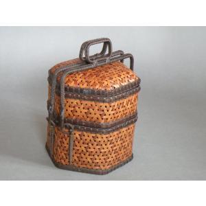 交色鉄線編み 提籃 茶道具 煎茶 e-basket