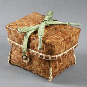 煤竹 網代茶籠 茶道具 e-basket