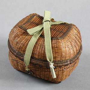 燻煙千島笹 青海波 茶籠  e-basket
