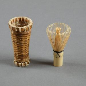 茶筅筒 茶道具 茶籠 茶筅付き 燻煙千島笹 e-basket
