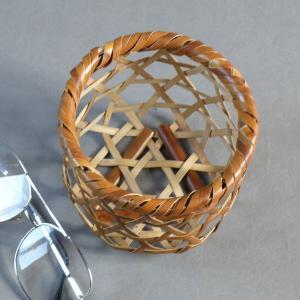 小さな竹籠 六つ目小籠 燻煙千島笹 煤竹|e-basket