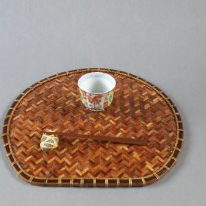 ランチョンマット 折敷 半月盆 網代編み 煤竹|e-basket
