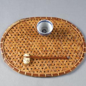 鉄線編み ランチョンマット 折敷 煤竹 燻煙根曲がり竹 千島笹|e-basket