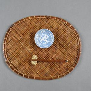 燻煙千島笹 ランチョンマット 折敷 網代編み 煤竹|e-basket