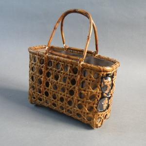 受注制作 竹籠バッグ かごバッグ 八つ目編み 根曲り竹 煤竹 燻煙千島笹 e-basket