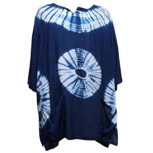 Tシャツ アジアン衣料 コットン藍染Tシャツ13 クリックポスト選択 送料200円|e-bingo