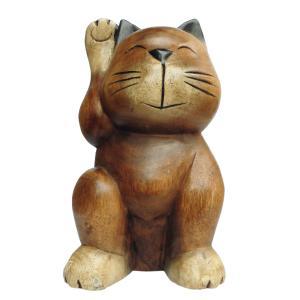 木彫り アジアン雑貨 木彫りの招き猫ちゃん・大 1 e-bingo