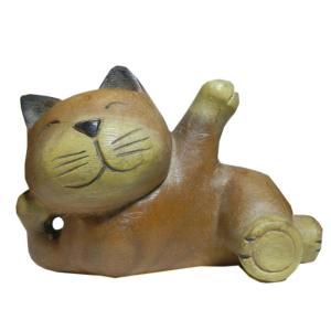 木彫り アジアン雑貨 ねこの木彫りほのぼの猫ちゃん10 e-bingo