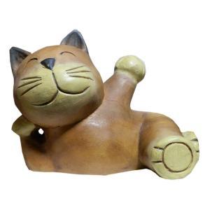 木彫り アジアン雑貨 ねこの木彫り(お昼寝猫ちゃん 大) e-bingo