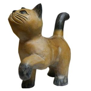 木彫り アジアン雑貨 ねこの木彫り(お散歩猫・中) e-bingo