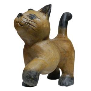 木彫り アジアン雑貨 ねこの木彫り(お散歩猫・小) e-bingo