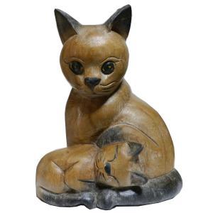 木彫り アジアン雑貨 ねこの木彫り(ママと赤ちゃん猫) e-bingo