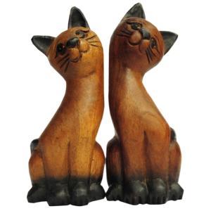 木彫り アジアン雑貨 ねこの木彫り17(双子猫さん) e-bingo