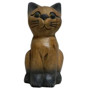 木彫り アジアン雑貨 ねこの木彫り(お座り猫・小) e-bingo