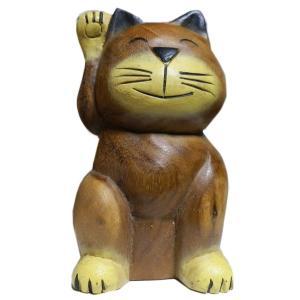 木彫り アジアン雑貨 招きねこの木彫り中 2 e-bingo