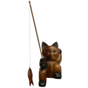 木彫り アジアン雑貨 ねこの木彫り魚釣りのおじさん猫(小) 20 e-bingo