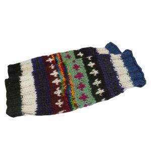 レッグウォーマー アジアン衣料 ネパール手編みウールレッグウォーマー 裏地フリース付き27 e-bingo