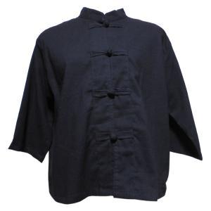 ブラウス アジアン衣料 前開きチャイナブラウス(黒系) クリックポスト選択 送料200円|e-bingo