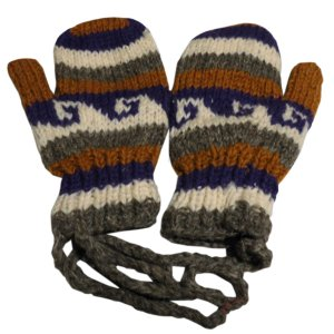 手袋 アジアン衣料 ネパール・ウール紐付きミトン手袋裏フリース付き1|e-bingo