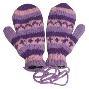 手袋 アジアン衣料 ネパール・ウール紐付きミトン手袋裏フリース付き10|e-bingo