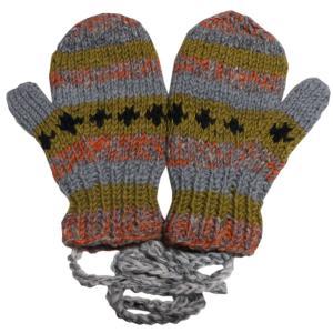 手袋 アジアン衣料 ネパール・ウール紐付きミトン手袋裏フリース付き11|e-bingo