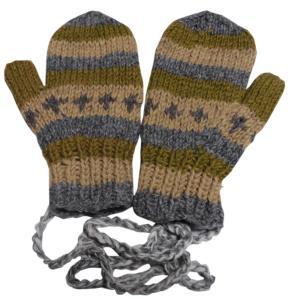 手袋 アジアン衣料 ネパール・ウール紐付きミトン手袋裏フリース付き12|e-bingo