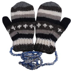 手袋 アジアン衣料 ネパール・ウール紐付きミトン手袋裏フリース付き13|e-bingo