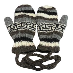 手袋 アジアン衣料 ネパール・ウール紐付きミトン手袋裏フリース付き15|e-bingo