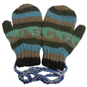 手袋 アジアン衣料 ネパール・ウール紐付きミトン手袋裏フリース付き16|e-bingo