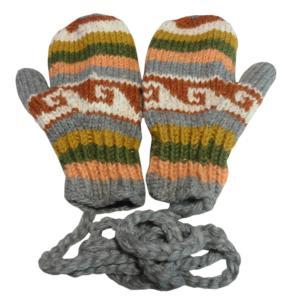 手袋 アジアン衣料 ネパール・ウール紐付きミトン手袋裏フリース付き17|e-bingo