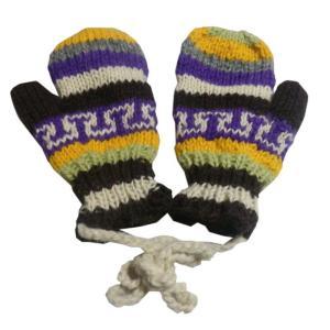 手袋 アジアン衣料 ネパール・ウール紐付きミトン手袋裏フリース付き19|e-bingo