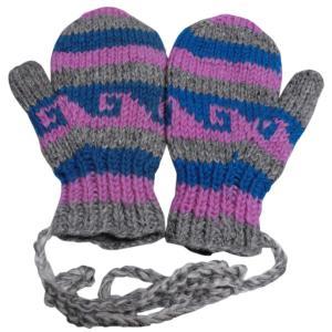 手袋 アジアン衣料 ネパール・ウール紐付きミトン手袋裏フリース付き2|e-bingo