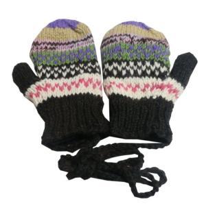 手袋 アジアン衣料 ネパール・ウール紐付きミトン手袋裏フリース付き20|e-bingo