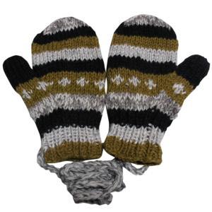 手袋 アジアン衣料 ネパール・ウール紐付きミトン手袋裏フリース付き21|e-bingo