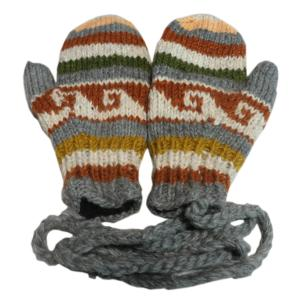 手袋 アジアン衣料 ネパール・ウール紐付きミトン手袋裏フリース付き22|e-bingo