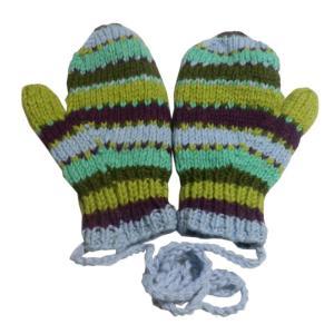 手袋 アジアン衣料 ネパール・ウール紐付きミトン手袋裏フリース付き23|e-bingo