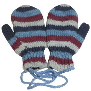 手袋 アジアン衣料 ネパール・ウール紐付きミトン手袋裏フリース付き24|e-bingo