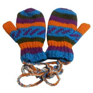 手袋 アジアン衣料 ネパール・ウール紐付きミトン手袋裏フリース付き26|e-bingo
