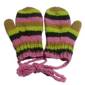 手袋 アジアン衣料 ネパール・ウール紐付きミトン手袋裏フリース付き28|e-bingo