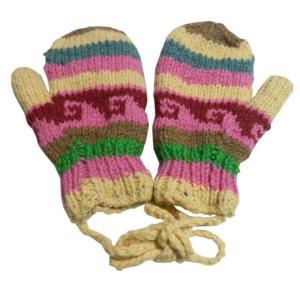手袋 アジアン衣料 ネパール・ウール紐付きミトン手袋裏フリース付き29|e-bingo