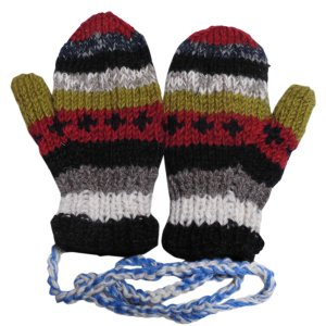 手袋 アジアン衣料 ネパール・ウール紐付きミトン手袋裏フリース付き3|e-bingo