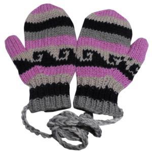 手袋 アジアン衣料 ネパール・ウール紐付きミトン手袋裏フリース付き30|e-bingo