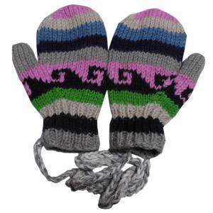 手袋 アジアン衣料 ネパール・ウール紐付きミトン手袋裏フリース付き31|e-bingo