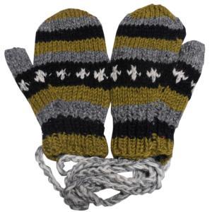 手袋 アジアン衣料 ネパール・ウール紐付きミトン手袋裏フリース付き33|e-bingo