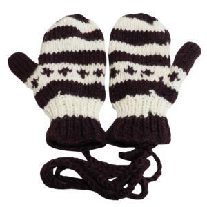 手袋 アジアン衣料 ネパール・ウール紐付きミトン手袋裏フリース付き34|e-bingo