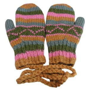 手袋 アジアン衣料 ネパール・ウール紐付きミトン手袋裏フリース付き35|e-bingo